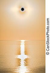 eclipse sunset sea Sun eclipse on the sea