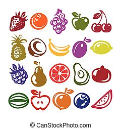 Fruit Icons - Set of fruit icons isolated on white