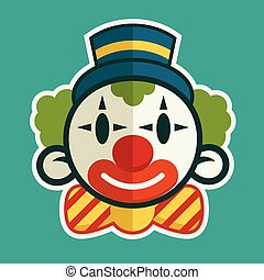 Birthday Clown - Smiling clown head illustration with top...