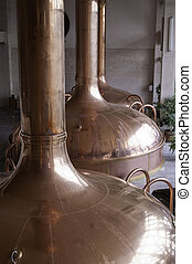 Brewing Factory - Large metal containers used for fermenting...