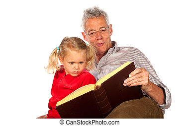 Grandfather is telling a story to his grandchild