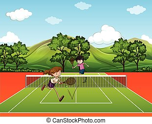 People playing tennis outside