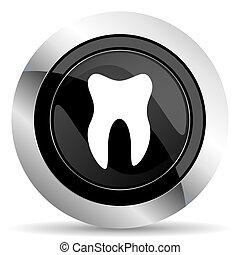 tooth icon, black chrome button