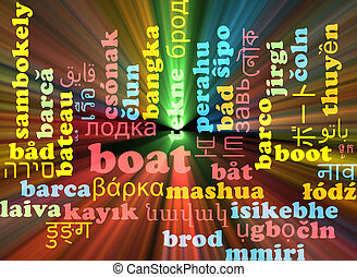 Boat multilanguage wordcloud background concept glowing -...