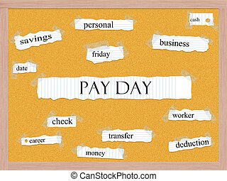 Pay Day Corkboard Word Concept with great terms such as...