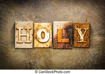 Holy Concept Letterpress Leather Theme - The word HOLY...