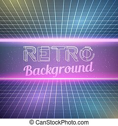 Retro Vintage 1980 Bright Neon Color Background -...