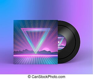 Retro Vinyl Record 1980s Style Cover with Neon Lights and...