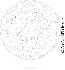 Global Network Lines with Dots Connection Vector Background