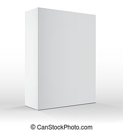 Realistic Vector Blank White Packaging Box Template for...