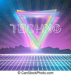 Abstract Techno 1980s Style Background with Triangles, Neon...