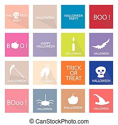 Illustration Collection of 16 Happy Halloween Icons