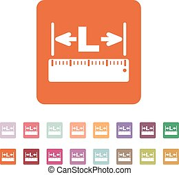 The length icon. Longitude, yardage, lgth symbol. Flat...