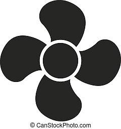 The fan icon. fan, ventilator, blower, propeller symbol. Flat