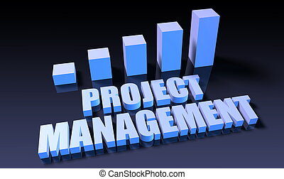 Project management graph chart in 3d on blue and black