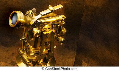 Antique theodolite - Antique brass theodolite shot on...