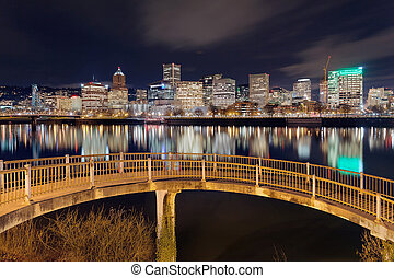 Portland Skyline from Pedestrian Bridge - Portland Oregon...