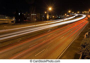 Freeway Traffic Light Trails in Portland Oregon at Night