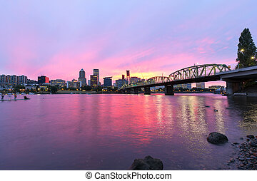 Pink Sunset over Portland Oregon Skyline - Pink Sunset over...