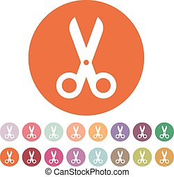 The scissors icon. Shears and clippers, cut off symbol. Flat...