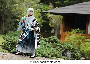 samurai cosplay in nature