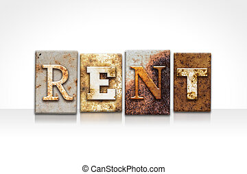Rent Letterpress Concept Isolated on White - The word RENT...