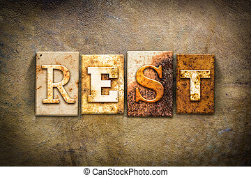 Rest Concept Letterpress Leather Theme - The word REST...