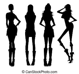 Modern girls silhouette - drawing of color modern girls...