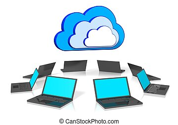 Cloud computing concept - 3D, computer generated computer...