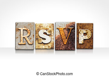 RSVP Letterpress Concept Isolated on White - The word RSVP...