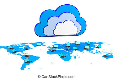 Cloud computing concept - 3D, computer generated global...