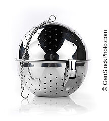 Strainer - Steel strainer standing against white background