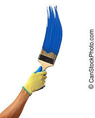 Blue paint splashing out of brush. Isolated on white background