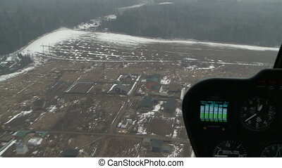 Planes dashboard Winter landscape outside window - View on...