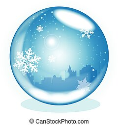 Winter Scene - A crystal ball over a winter scene background