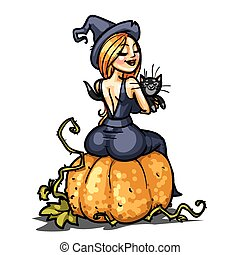 Sexy witch with cat sitting on a pumpkin