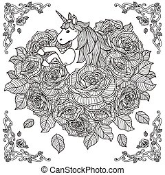 adorable unicorn and roses background - black and white...
