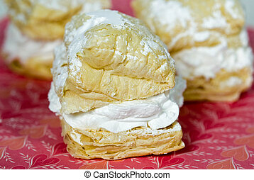 Puff Pastry - Extreme close up of puff pastry on Valentine...