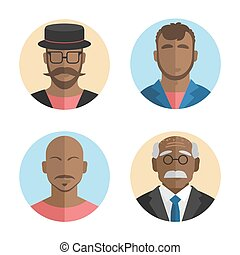 illustration of flat design African American men icons collection. Vector