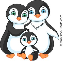 The Family of Penguins - Illustration of a penguin family:...