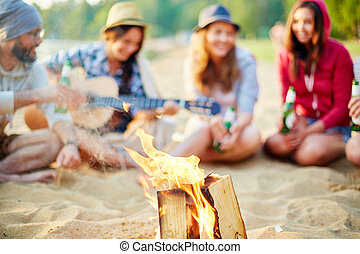 Tourist fire - Burning wood on background of restful friends