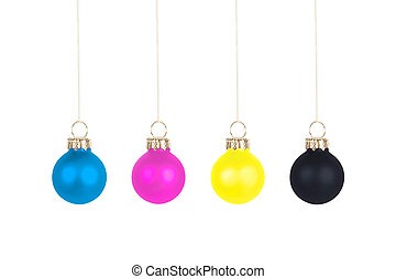 Christmas tree balls CMYK - Four Christmas tree balls, CMYK...