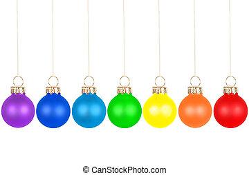 Christmas tree balls, rainbow colors - Seven Christmas tree...