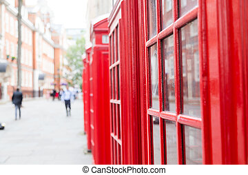 Red Telephone Boxes and Copy space - Red Telephone Boxes in...