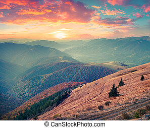 Colorful autumn sunset in Carpathian mountains
