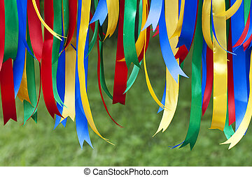 colored ribbons - multicolored ribbons vertically blurred...