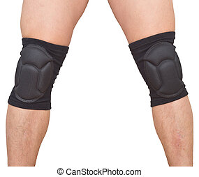 legs with knee caps - man legs with knee cap pad protectors...