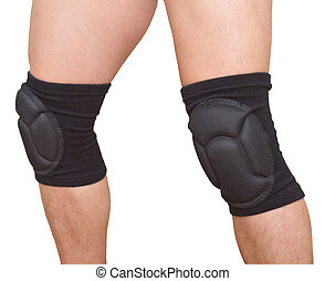 legs with knee caps - man legs with knee cap pad protector...