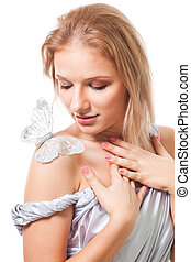 Romantic woman with butterfly sit on her shoulder, isolated...