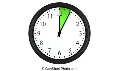 Animated clock with a green time interval - Animated wall...